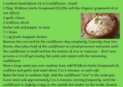 Garlic Cilantro Lime Cauliflower Rice